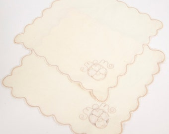 Vintage Ivory Napkins Embroidered Doilies Set of 2 Cotton Table Linens