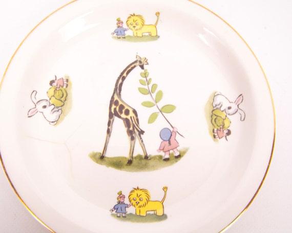 Vintage Childrens Plate W S George Baby Dinnerware Nursery Giraffe Lion White Rabbit Little Girl Feeding Animals