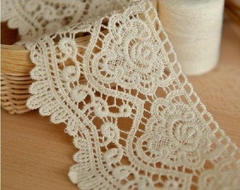 2 Yard Lace Trims 7.5cm Wide,Embroidery,Vintage Style,Beige Color,Floral,European Royal Texture,Cotton(ZL15)