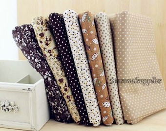 "Brown Bundle Brown Cotton Fabric Bundle- Brown Fabric Fat Quarter Bundle, 7 Fat Quarters Pieces each 19""X19"" (QT129-M)"