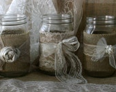 Burlap wedding, VINTAGE lace wedding JARs, Burlap wedding centerpieces, rustic farm house, shabby chic, country wedding