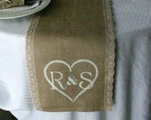 Burlap with lace  monogrammed tables runners, country rustic, shabby chic, woodland cottage, & French country