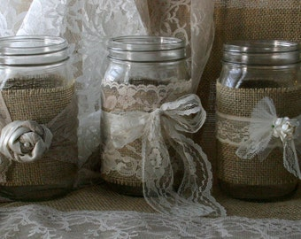 Burlap wedding, VINTAGE lace wedding JARs, Burlap wedding centerpieces, rustic farm house, shabby chic, country wedding
