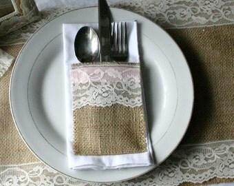 TEN Burlap wedding table decor, Burlap silverware holders,