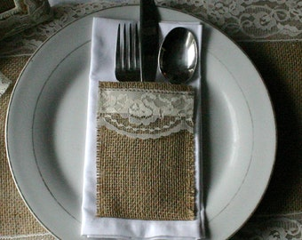 Burlap silverware holders, 10/25 Burlap wedding decorations, country rustic, Garden, woodland cottage,French country weddings