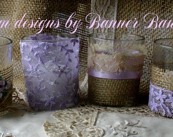 Burlap and LAVENDER lace wedding votives, Wedding tea candles, Ivory lace wedding votives