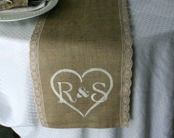 Burlap and lace table runners, monogrammed table runner