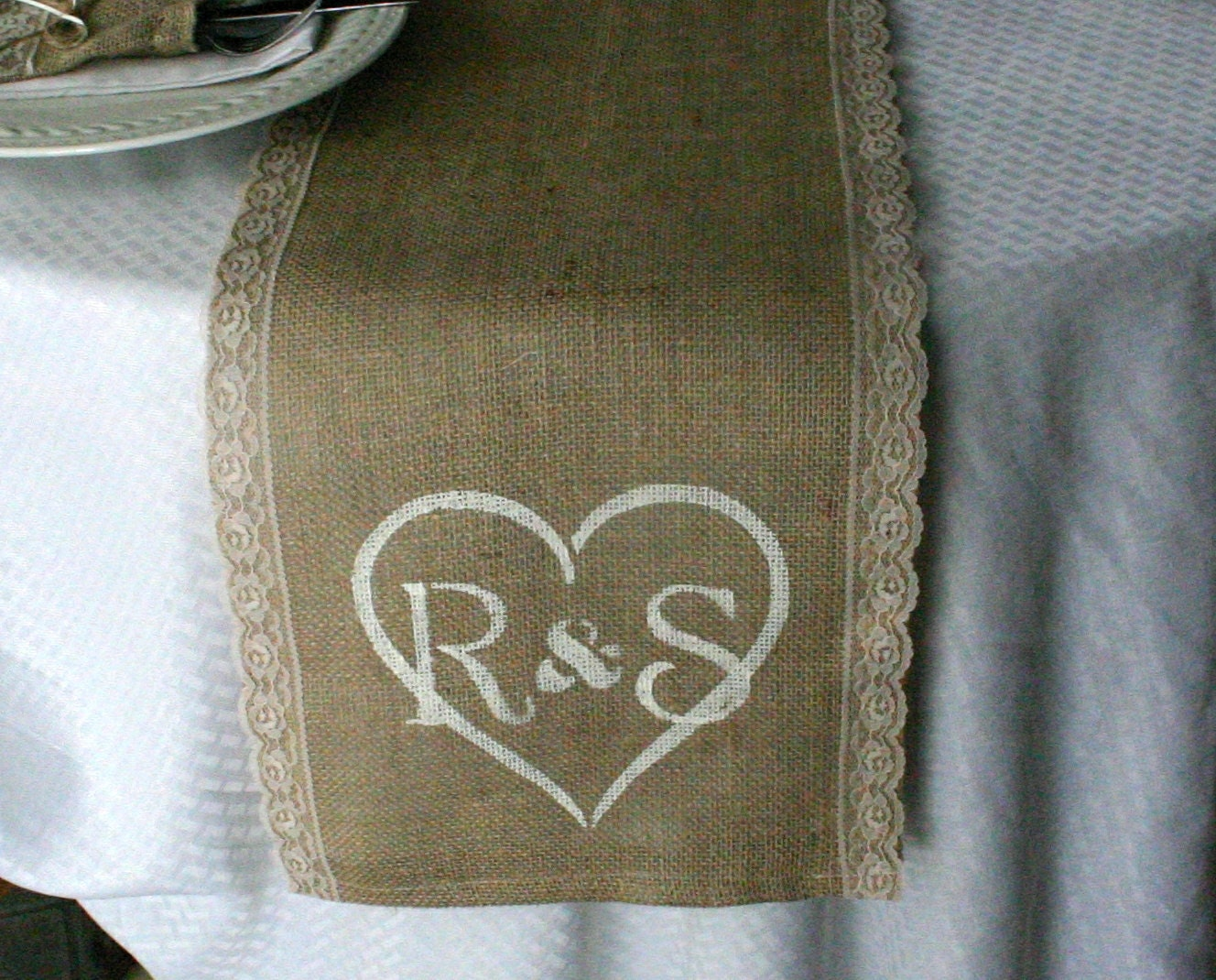 lace table and monogrammed lace runners Accessories: runner Burlap runners, table  table