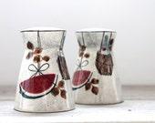 Vintage retro salt and pepper shakers / retro home decor / wine basket / modern home / mid century / collectible shaker set / retro home