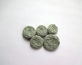 Sage Green Fabric Rosettes Embellishment