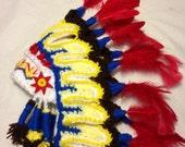 Thanksgiving Indian hat/Cherokee/, perfect newborn photo prop.