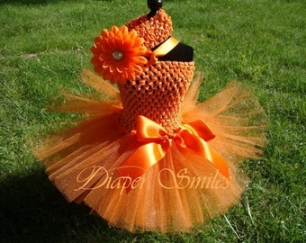 Orange Two piece Tutu Dress set with Matching Flower Headband