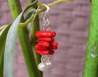 Red  Bamboo Coral and Creamy Freshwater Pearl Sterling Silver Earrings