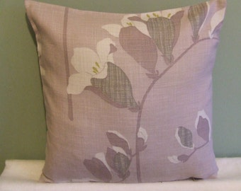 """CLEARANCE Modern, retro, contemporary dusky pink, lilac flowered 16"""" x 16"""" cushion cover, scatter cushion, pillow case"""