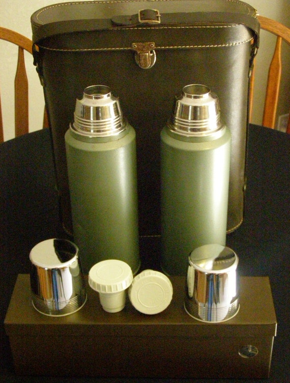 Vintage Thermos Green Metal Aladdin By Stanley Classic Work