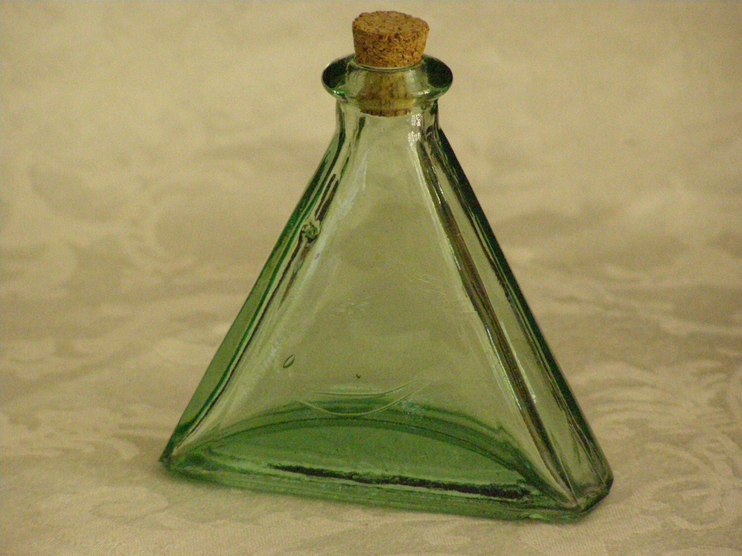 Vintage blue green heavy glass bottle with cork stopper used for Uses for old glass bottles