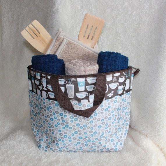 Wedding Kitchen Gift Basket : ... Gift Basket - Navy Tan and Brown - Kitchen Towels-Hot Pads-Wood