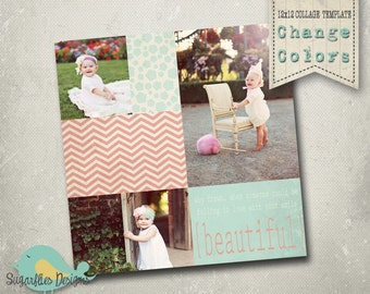 Photography Collage Template Blog Board 12x12 - Collage 4