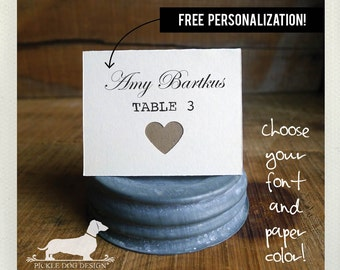 Ivory Heart. Personalized Place Cards (Set of 12) -- (Vintage-Style, Bridal Shower, Wedding Escort Cards, Baby Shower, Custom Place Cards)
