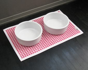 Pink & White Gingham Waterproof Pet Placemat with solid white border