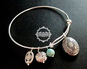 antiqued silver oval photo locket gothic style blue turquoise bead charms wiring bangle bracelet fashion women jewelry