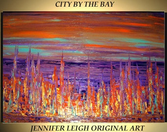 Original Large Abstract Painting Modern Contemporary Canvas Art Orange Gold Purple City By The Bay 36x24 Palette Knife Texture Oil J.LEIGH