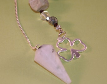Dowsing Pendulum Agate Shamrock Divination OOAK New Age Gemstone Magick Witchy Pagan Wicca 125462P
