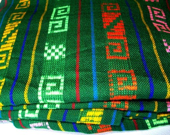 "Mexican Fabric Green geometric designs  31"" width by one yard."