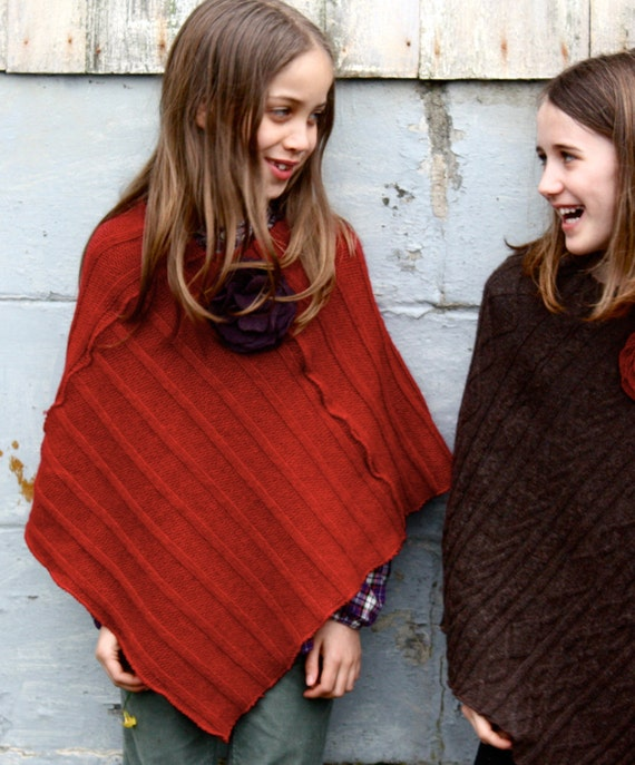 Red Girl's Poncho Recycled Wool Sweater Wool Cape