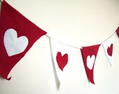 Tshirt Jersey Fabric Pennant Banner, Red and White with Hearts, Flag Bunting, Valentine's Day Decor, Wedding Shower Decoration - Repurposed