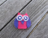 Pretty In Pink Owl Felt Hair Clip