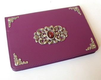 Mini iPad Leather Purple Case  -  Magnetic Closure Book Case  - Victorian Gothic iPad Accessories