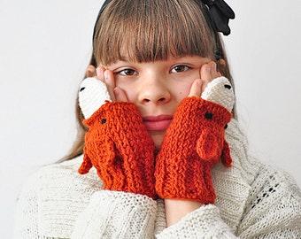 For KIDS FOX fingerless GLOVES Mittens Gift Wool Crochet Winter Girl Teen Cozy Ginger Red Forest Animals Woodland
