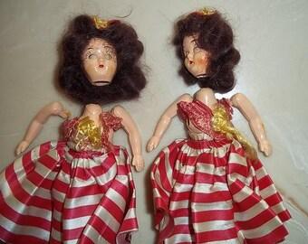 Mid Century Hard plastic dolls, pair