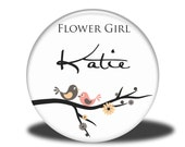 PERSONALIZED Flower Girl Gift - Mirror, Magnet, Bottle Opener or Pin - Lovebirds on a Branch