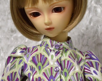Long-sleeve blouse in orchid print for Super Dollfie