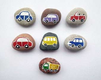 7 Cars with Magnets, Traffic Play, Beach Pebbles, Play for Magnetic Board, Eco Toys, Gift Idea for Boys, Painted Sea Stones