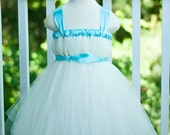 Flower Girl Empire Waist Babydoll Style Tutu Dress Ivory and Eggshell Blue with Satin Sash CUSTOMIZABLE