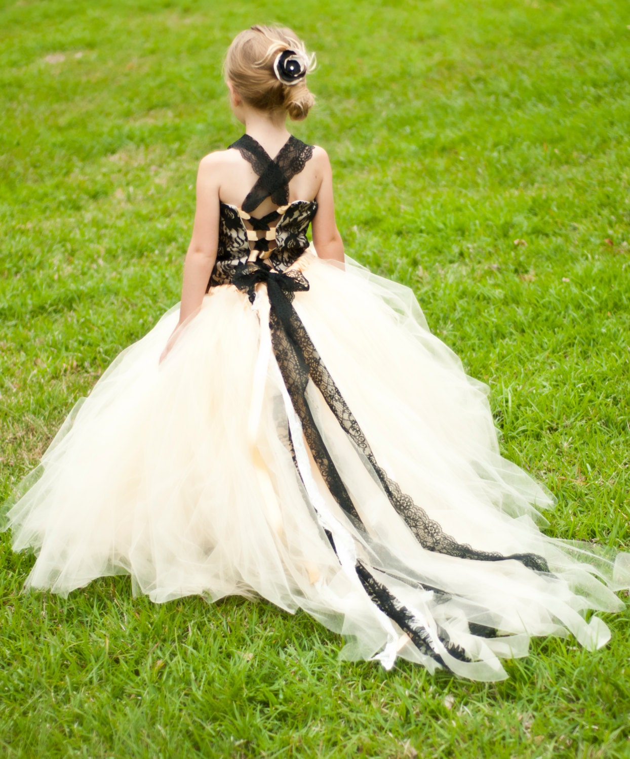 Flower Girl Floor Length Sewn Tutu Dress Champagne and Black