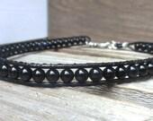 Black Stone Men Choker Handmade Necklace/ Leather Wrap Bold Jewelry/ Japanese Power Stone Jewelry/ Christmas Fathers Day Birthday Gift Him