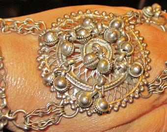 Rare Solid Antique Silver hand bracelet w rings n bells. Hand made Indian.Tribal Rajasthan dance jewelery,Gypsy, ethnic