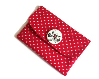 Red Wallet /Purse - Coin Purse - Red Change Purse - Fabric Coin Wallet - Fabric Wallet