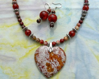 20 Inch Red and Gray Jasper Heart Necklace with Earrings