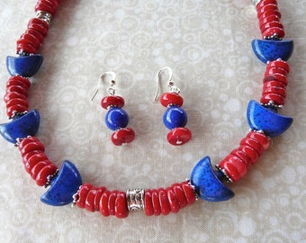SALE!   20 Inch Red Coral Disk and Blue Stone Necklace with Earrings