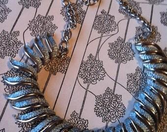Vintage Silver Tone Baby Blue Enamel Necklace
