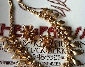 Vintage Gold Tone Heavy Necklace & Earrings Set