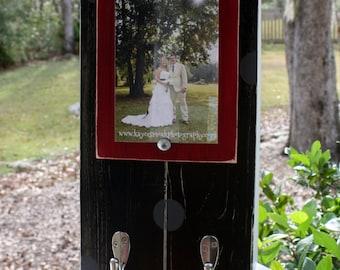 Keyholder Frame, Distressed Picture Frame, 4x6 Wood Picture Frame Key Hook Frame