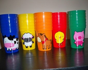 FARM ANIMAL theme BIRTHDAY party favor cups (set of 5 cups)