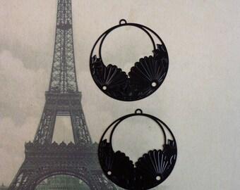Laser Lace Filigree Pendant/Charm (45mm) Black Plated Brass (2)