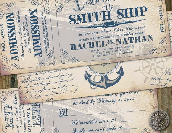Cruise Wedding Invitations: Vintage Inspired Cruise Ship Ticket Invitation By